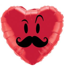 Red Heart Mustache Balloon