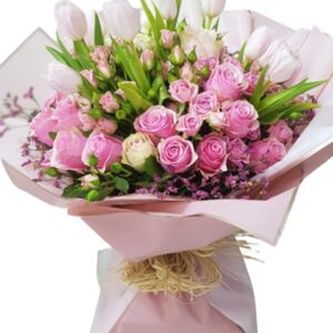 Pink Spray Roses and White Tulips