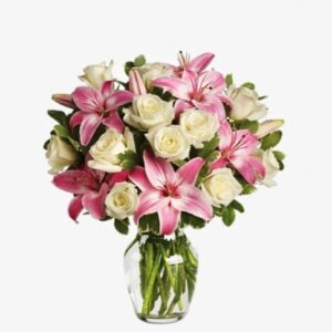 White Roses and Pink Lily